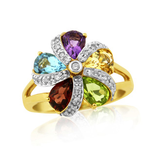 9ct Multi Gem Cluster Ring