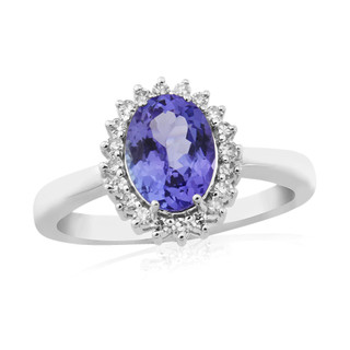 9ct White Gold Tanzanite & Diamond Cluster Ring