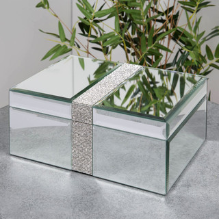 Hestia Glass Jewellery Box with Diamante Band