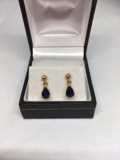 9ct Pear Shape Sapphire Drop Earrings
