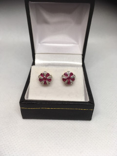 9ct Ruby and Diamond Cluster Earrings