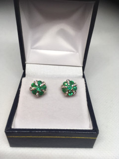 9ct Diamond and Emerald Cluster Stud Earrings