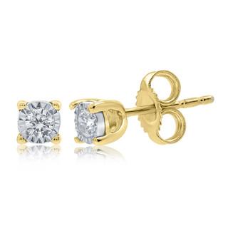 9ct Diamond Stud Earrings Set in Yellow Gold
