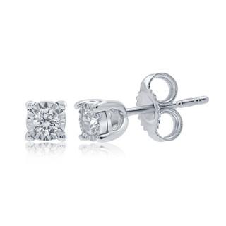 9ct Diamond Stud Earrings Set in White Gold