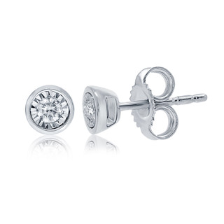 9ct Diamond Stud Earrings  in a White Gold Rub Over Setting