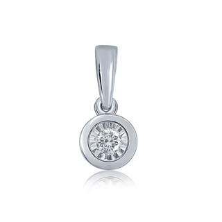 9ct White Gold Rub Over Setting Diamond Pendant
