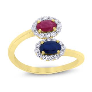 9ct Sapphire,  Ruby & Diamond Swirl Ring