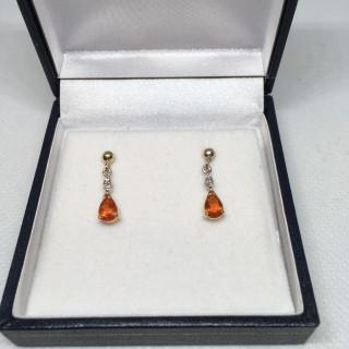 9ct Fire Opal & Diamond Drop Earrings