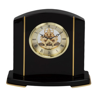 WILLIAM WIDDOP BLACK PIANO WOOD SKELETON MANTEL CLOCK