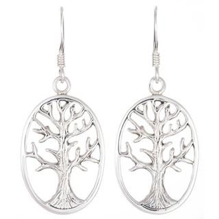 Sterling Silver Tree Of Life Dangle Drop Earrings