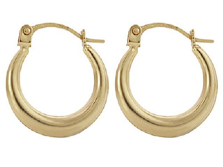 9ct Yellow Gold Crescent Shaped Creole Earrings