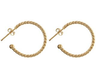 9ct Yellow Gold Rope Hoop Earrings