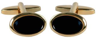 Gold Plate Oval Onyx Cufflinks