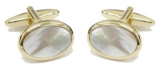 Gold Plate Oval Mother of Pearl Cufflinks