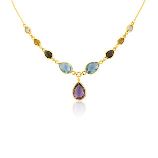 9ct Gold Multi Gemstone Drop Necklace