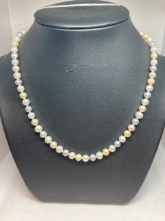 Yellow, Grey & White Cultured Pearls