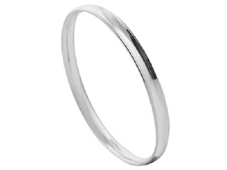 Silver Ladies Concave Shaped Bangle