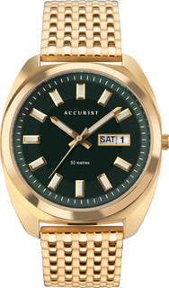 Accurist Gents Retro Green Dial Gold Plated Bracelet Watch RRP £109.99 Our Price £87.95