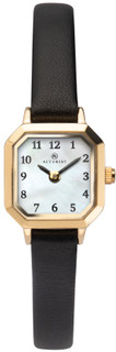 Ladies Dainty Gold Plated Strap Watch With Hexagonal Mother of Peal Dial