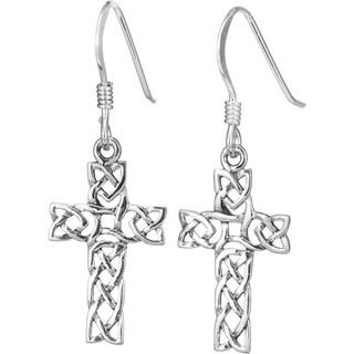 Sterling Silver Open Weave Cross Earrings