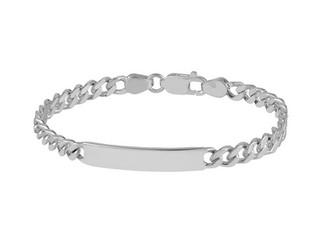 "Gents Sterling Silver Flat Curb ID Bracelet 8 1/2"""