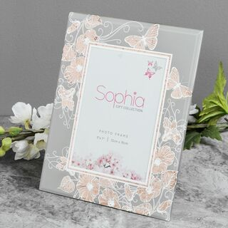 "Sophia Rose Gold Butterfly Glass Photo Frame 5"" x 7"""