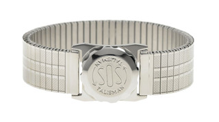 Stainless Steel SOS Gents Talisman On Expanding 18mm Bracelet