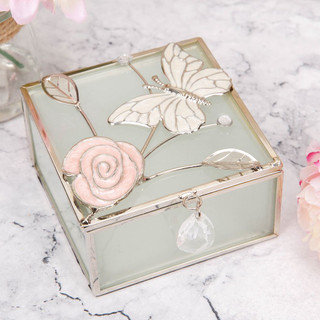 SOPHIA FROSTED GLASS & WIRE TRINKET BOX - BUTTERFLY