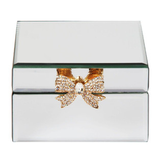 SOPHIA MIRROR GLASS JEWELLERY BOX WITH GOLD BOW