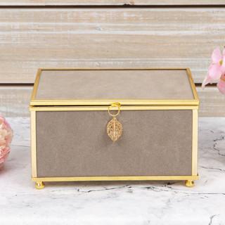 SOPHIA GREY JEWELLERY BOX WITH GOLD LEAF DETAIL