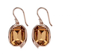 Ribbon Detail Drop Earrings In Rose Gold And Light Colorado Topaz Crystal