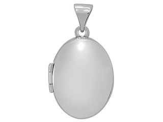 Sterling Silver Plain Oval Polished Locker & Chain