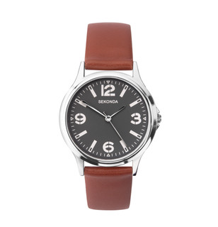 Sekonda Gents Silver Tone Leather Strap Watch 1682 RRP £39.99 Our Price £31.95