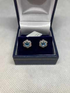 9ct White Gold Diamond & Topaz Cluster Stud Earrings
