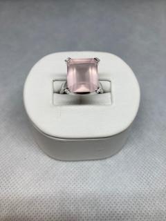 9ct White Gold Emerald Cut Diamond & Quartz Ring