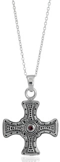 Sterling Silver St. Cuthbert's Cross Pendant Necklace