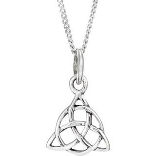 Sterling Silver Celtic Triskele Drop Pendent Necklace