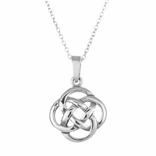 Sterling Silver Round Celtic Knot Pendant Necklace