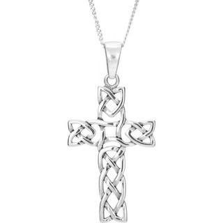 Sterling Silver Open Celtic Weave Cross