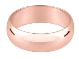 9ct Rose Gold D Shape Wedding Band
