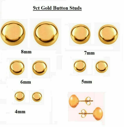 9ct Gold Button Stud Earrings With Quality Butterflies In Presentation Box