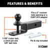 """Can Am 3-In-1 Atv Ball Mount With 2"""" Shank And 1-7/8"""""""