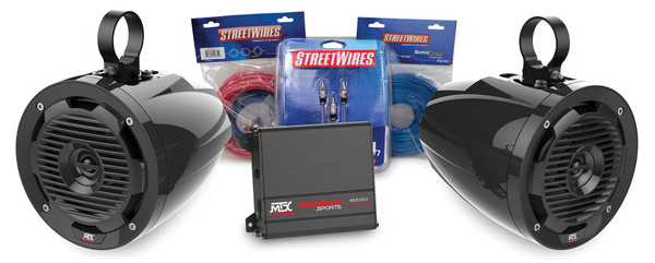 Can-Am 2-Channel Amplifier and 4 Roll Cage Speakers Package by MTX Audio