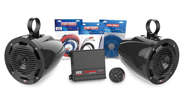 Can-Am 2-Channel Amplifier and 2 Roll Cage Speaker Audio Package by MTX Audio