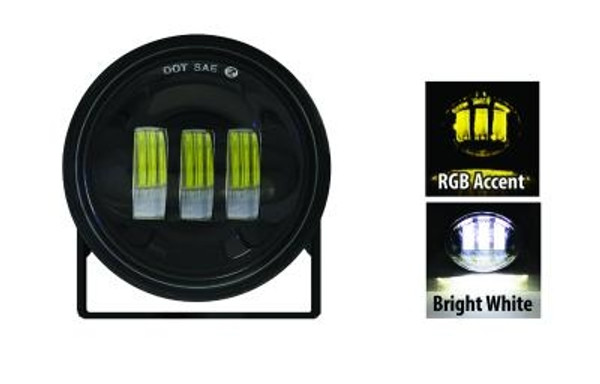 Can-Am 4 Inch 30w Black Spot Round Pod With Rgb Accent Non-Adjustable by Quake LED