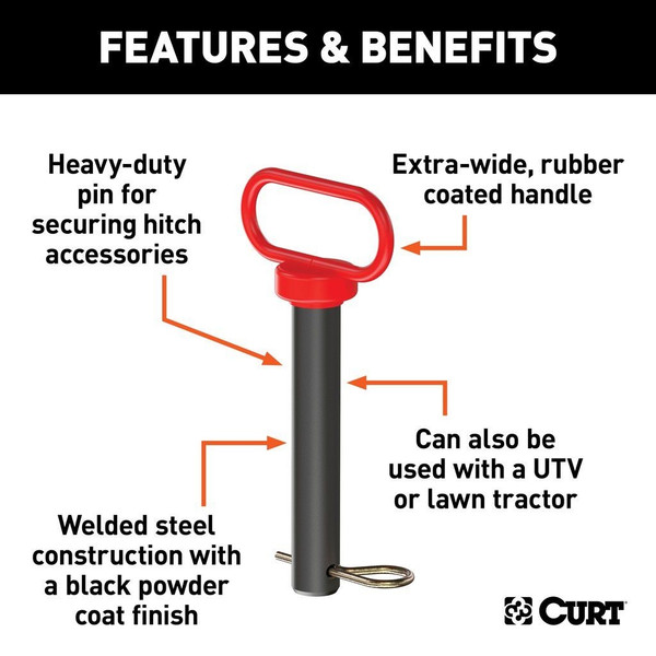 """Can Am 1"""" Clevis Pin With Handle And Clip"""