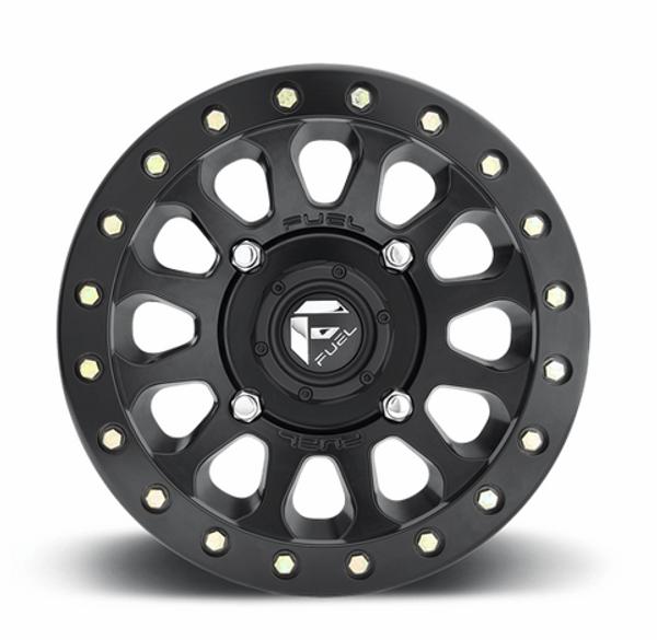Can Am Fuel Vector D920 Matte Black Beadlock Wheels with Fuel Gripper T   R   K Tires
