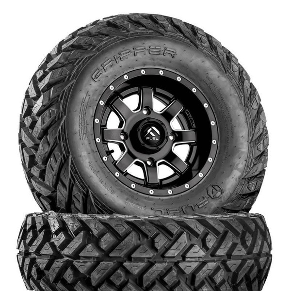 Can Am Maverick D538 Matte Black & Milled Wheels with Fuel Gripper Tires by Fuel Off-Road