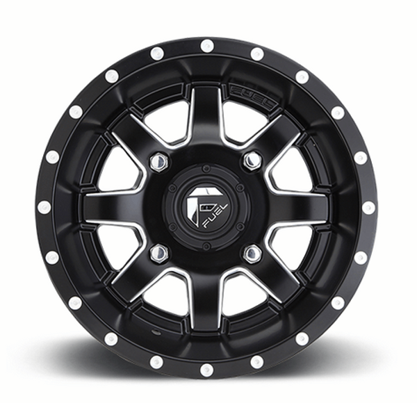 Can Am Maverick D538 Matte Black & Milled Wheels with Fuel Gripper Tires
