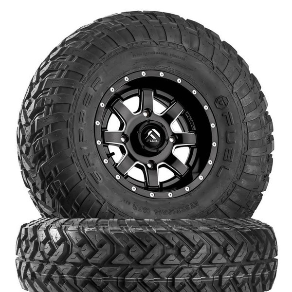 Can Am Maverick D538 Matte Black & Milled Wheels with Fuel Gripper R   T Tires by Fuel Off-Road